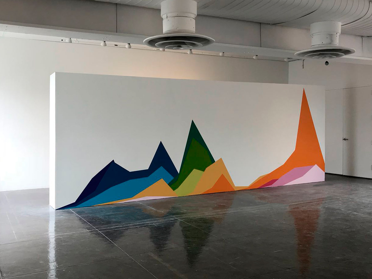 «Two Centuries of U.S. Immigration», 2018, Front view, Mural painting on wall installation, 8' x 21' 4'' x 19''