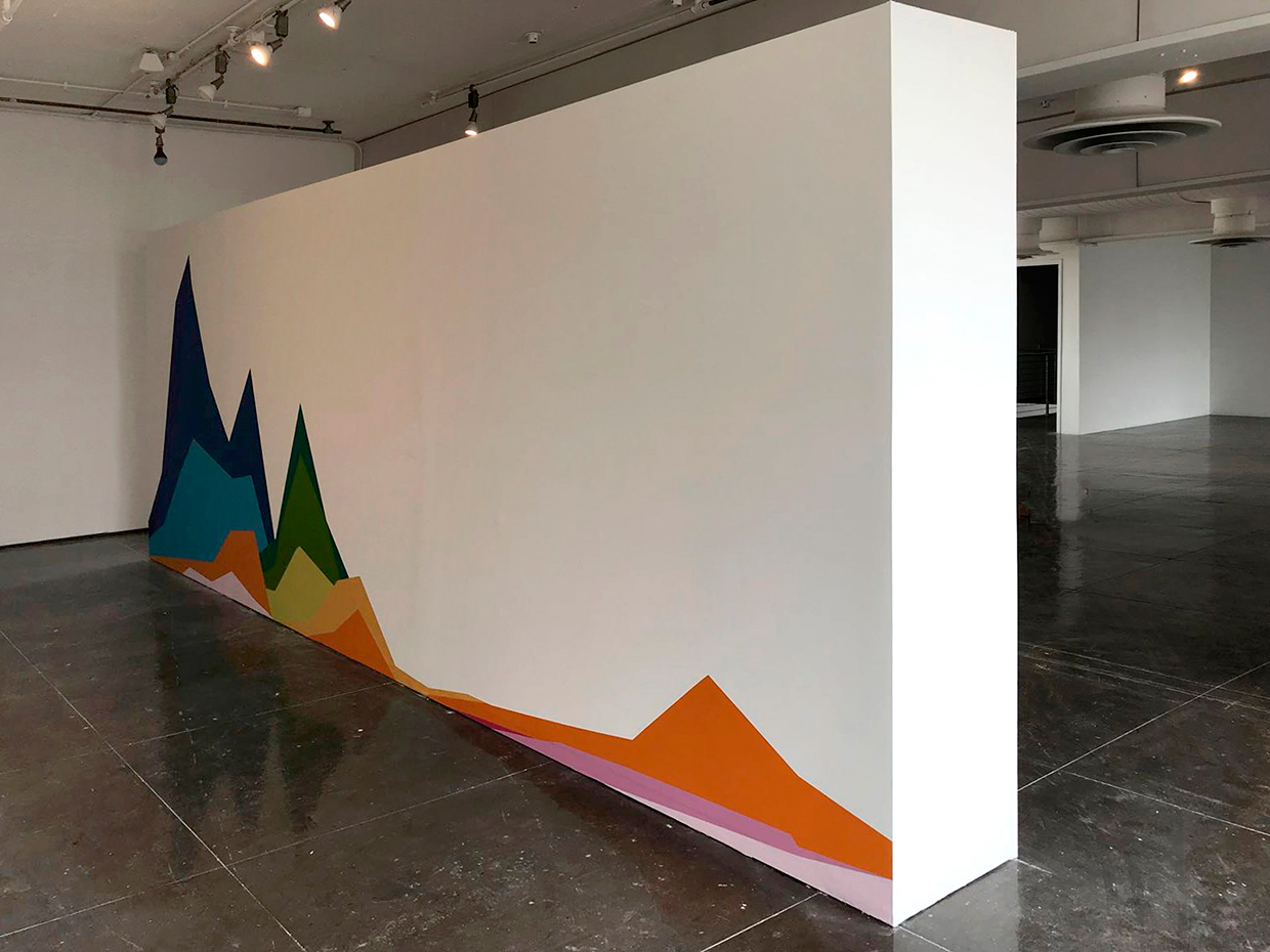 «Two Centuries of U.S. Immigration», 2018, Back view, Mural painting on wall installation, 8' x 21' 4'' x 19''