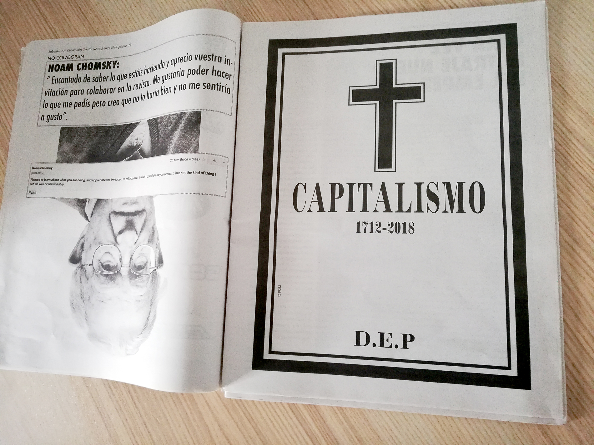 «Capitalism R.I.P.», 2017, Intervention in «Sublime» magazine, 2018