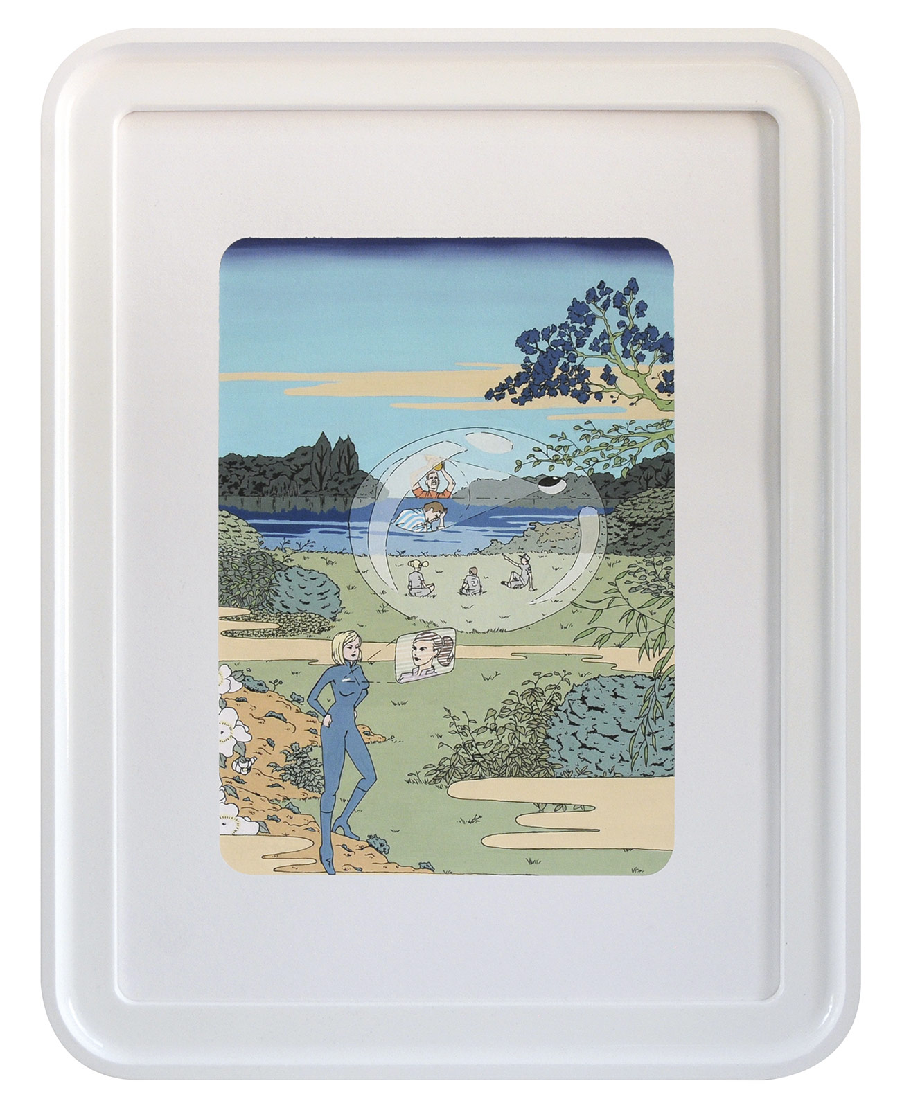 «The Hydrogen Island, Utopian-entropic prints», 2012, Gouache and ink on paper, 40 x 30 cm.