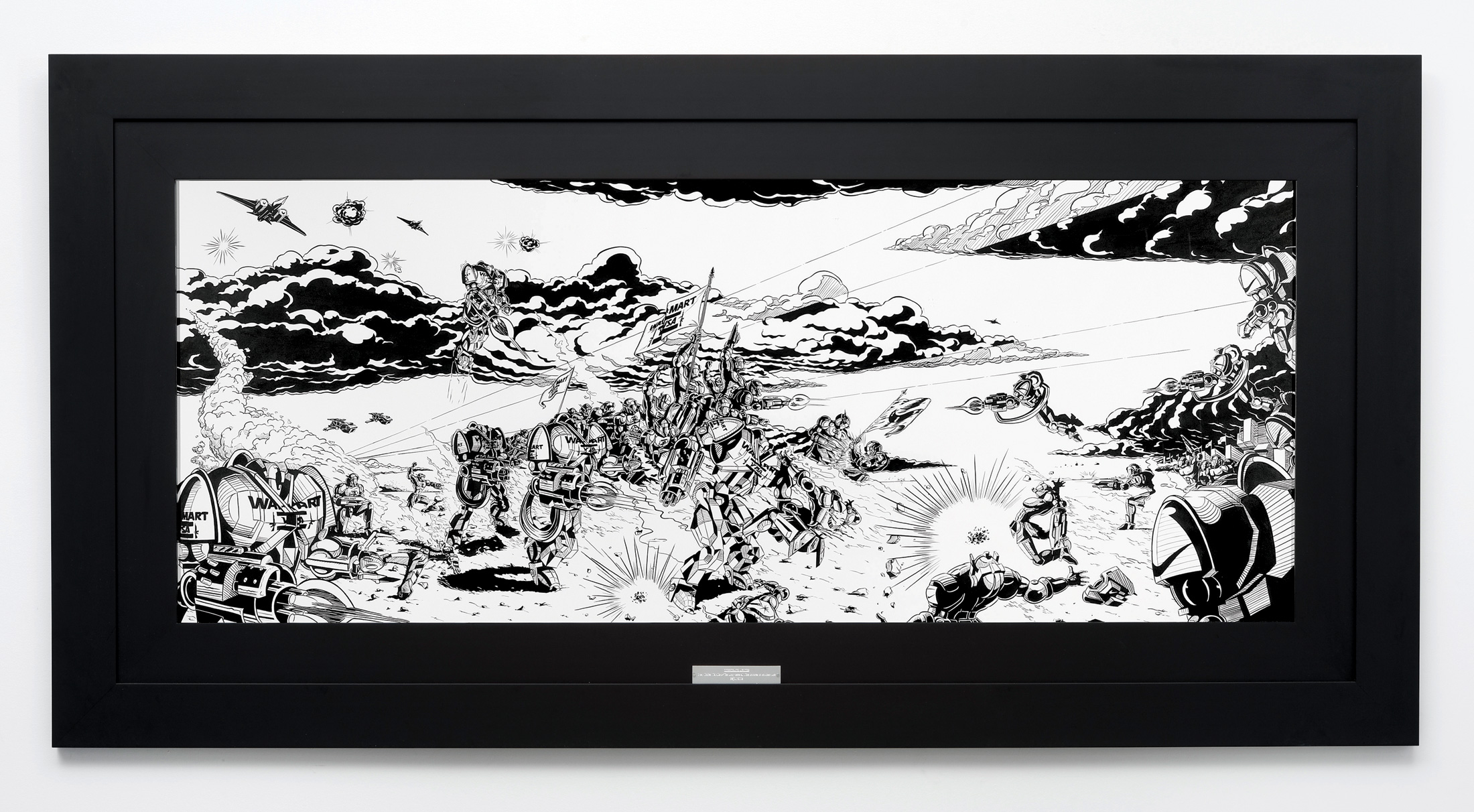 «Great Unified Wal-Mart / Visa Army seizes all Nike factories in Southern Asia», 2008, Ink on paper and frame with plate, 117 x 230 cm