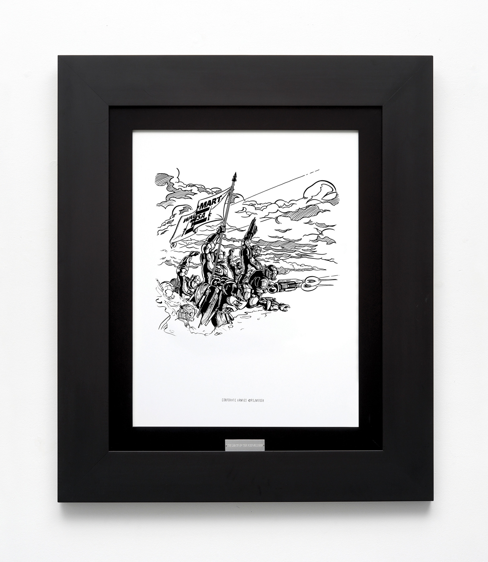 «The Victory WM-V», 2008, Ink on paper and frame with plate, 95 x 80 cm