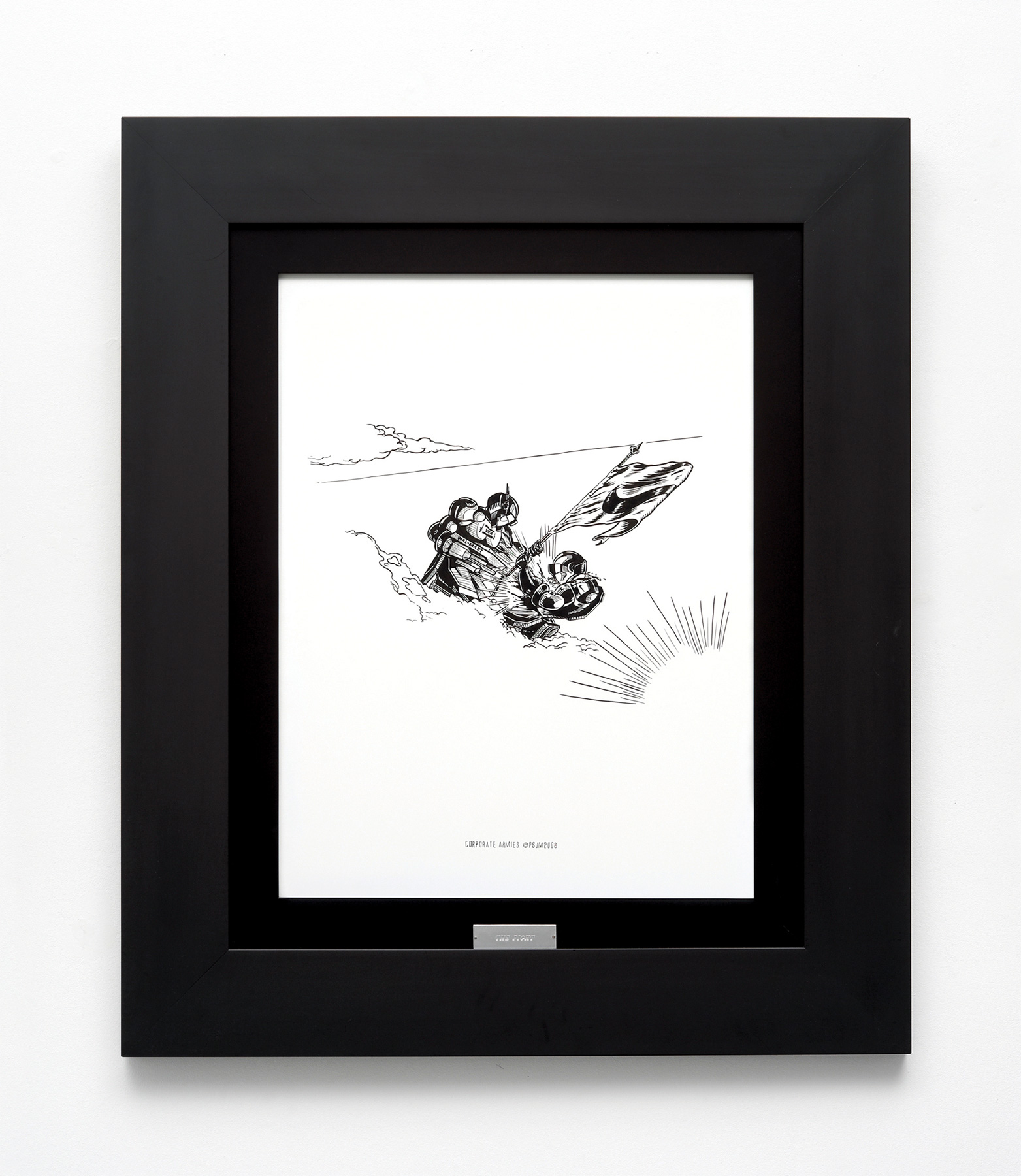 «The Fight», 2008, Ink on paper and frame with plate, 95 x 80 cm