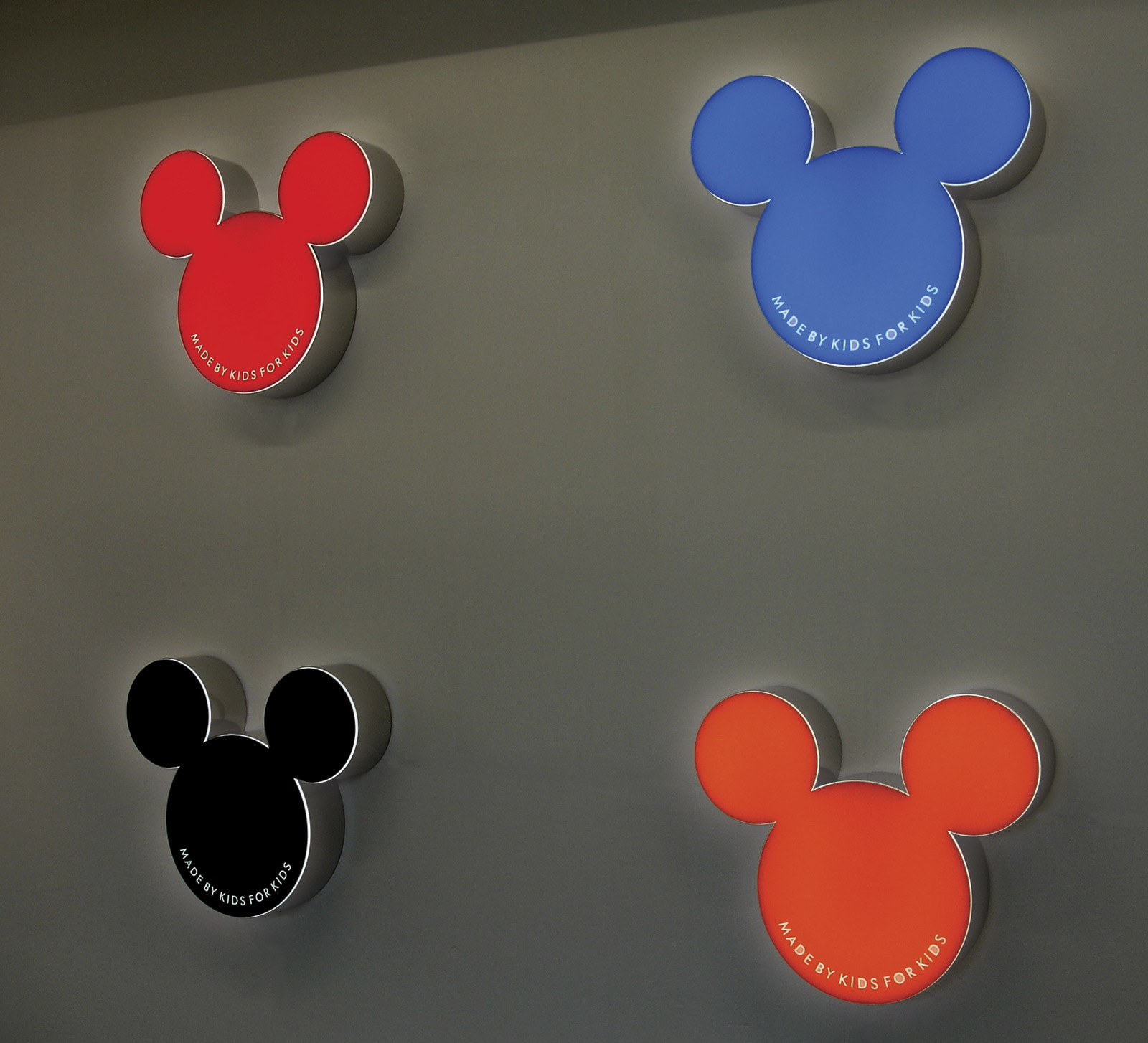 «Made by kids for kids», 2007, Lightbox on stainless steel, 65 x 55 x 13 cm each