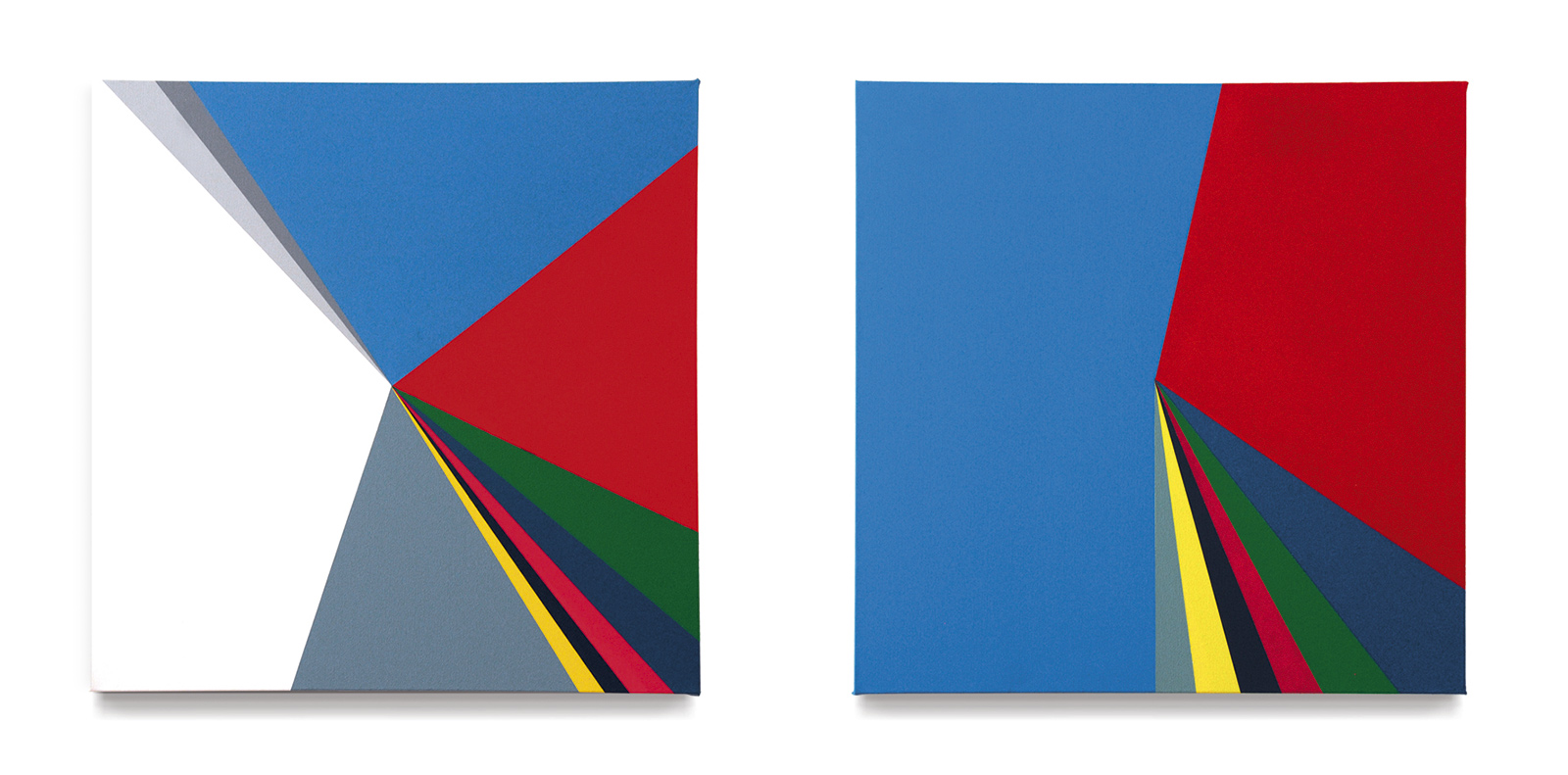 Diptych. «General elections in Spain 2011 (parties, abstention, null and blank votes) and (parties in parliament)», 2013, Acrylic on canvas, 60 x 60 cm each.
